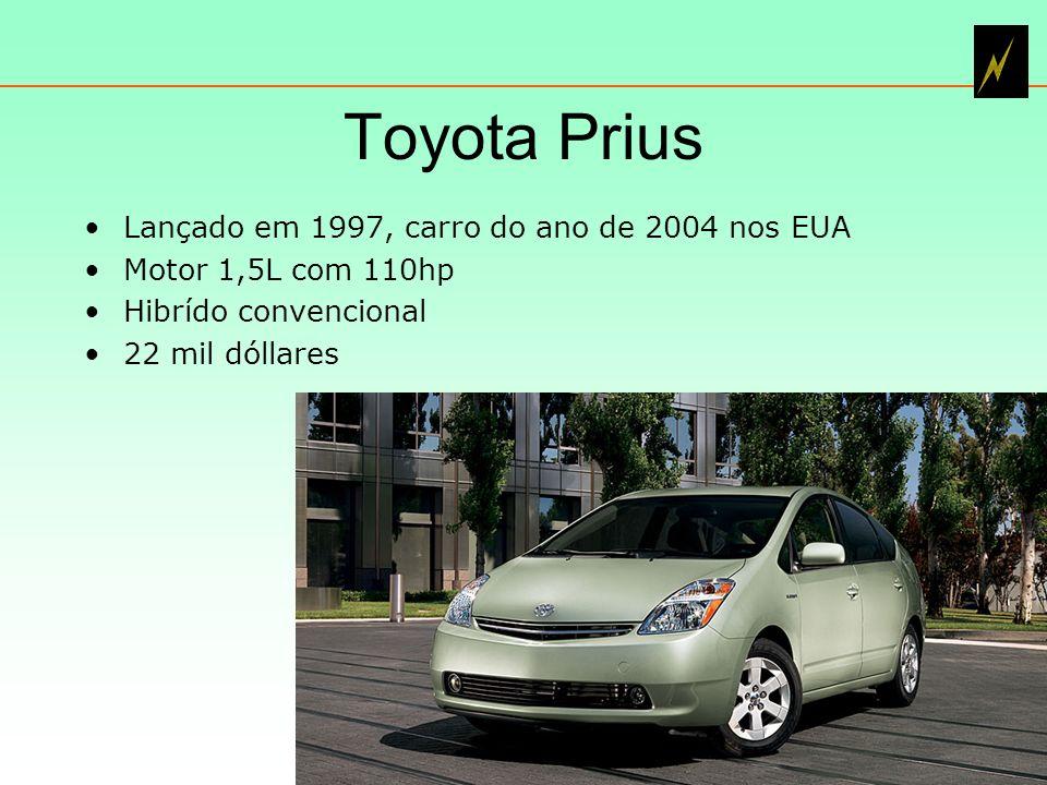 Toyota Prius Lançado em 1997, carro do ano de 2004 nos EUA Motor 1,5L com 110hp Hibrído convencional 22 mil dóllares 6