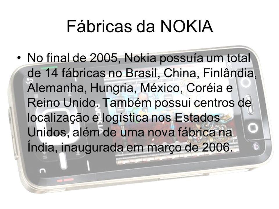 Fábricas da NOKIA No final de 2005, Nokia possuía um total de 14 fábricas no Brasil, China, Finlândia, Alemanha, Hungria, México, Coréia e Reino Unido