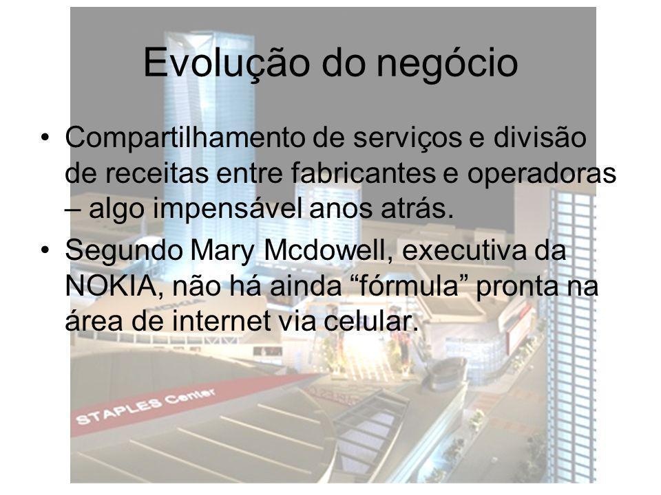 Evolução do negócio Compartilhamento de serviços e divisão de receitas entre fabricantes e operadoras – algo impensável anos atrás. Segundo Mary Mcdow