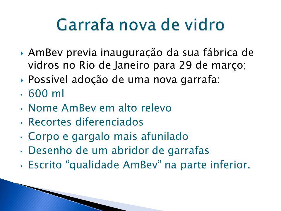 AmBev previa inauguração da sua fábrica de vidros no Rio de Janeiro para 29 de março; Possível adoção de uma nova garrafa: 600 ml Nome AmBev em alto r