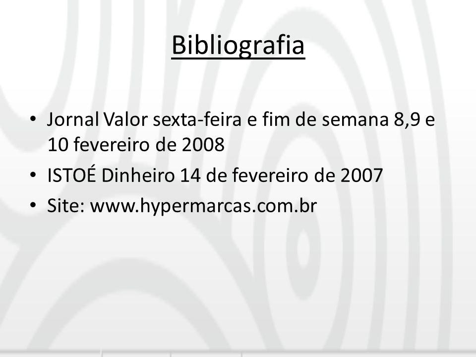 Bibliografia Jornal Valor sexta-feira e fim de semana 8,9 e 10 fevereiro de 2008 ISTOÉ Dinheiro 14 de fevereiro de 2007 Site: www.hypermarcas.com.br