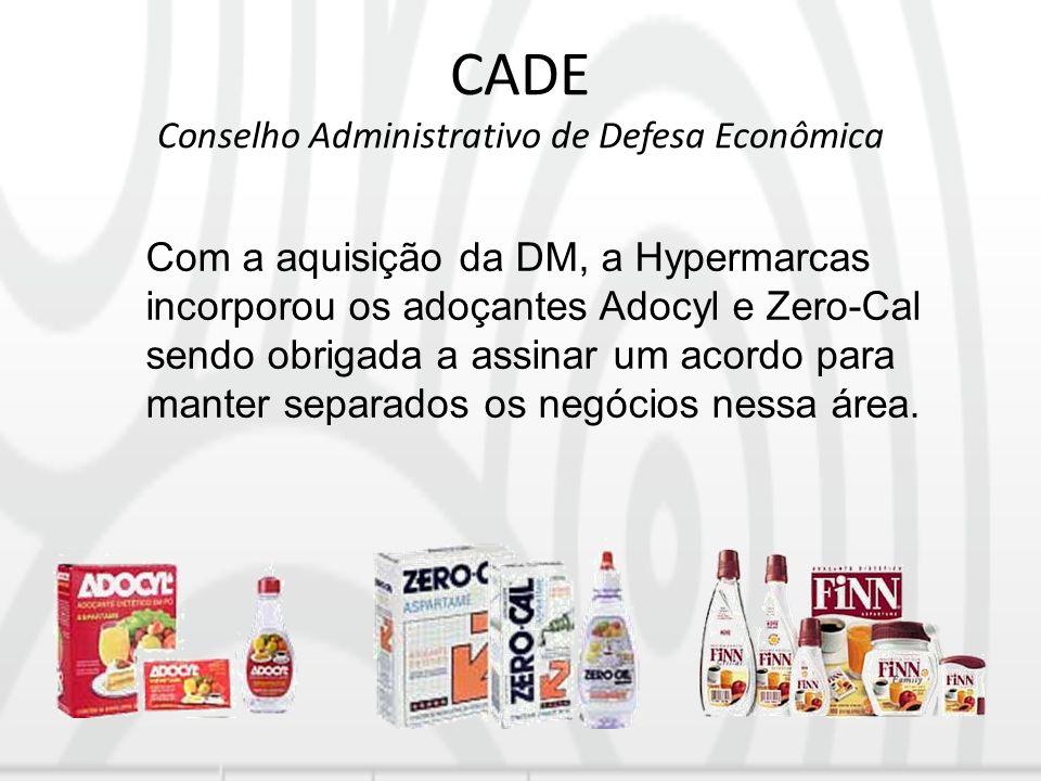 CADE Conselho Administrativo de Defesa Econômica Com a aquisição da DM, a Hypermarcas incorporou os adoçantes Adocyl e Zero-Cal sendo obrigada a assin