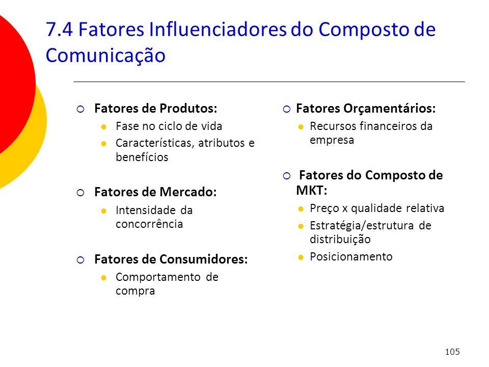 105 7.4 Fatores Influenciadores do Composto de Comunicação Fatores Orçamentários: Recursos financeiros da empresa Fatores do Composto de MKT: Preço x