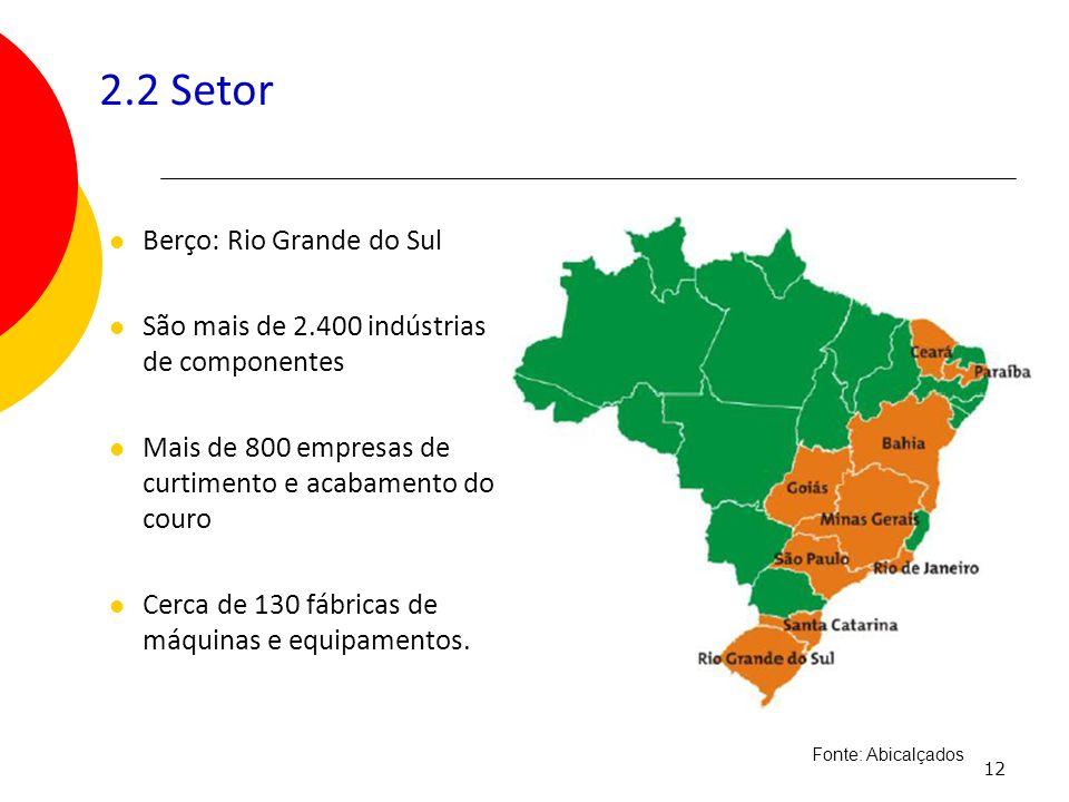 12 2.2 Setor Berço: Rio Grande do Sul São mais de 2.400 indústrias de componentes Mais de 800 empresas de curtimento e acabamento do couro Cerca de 13