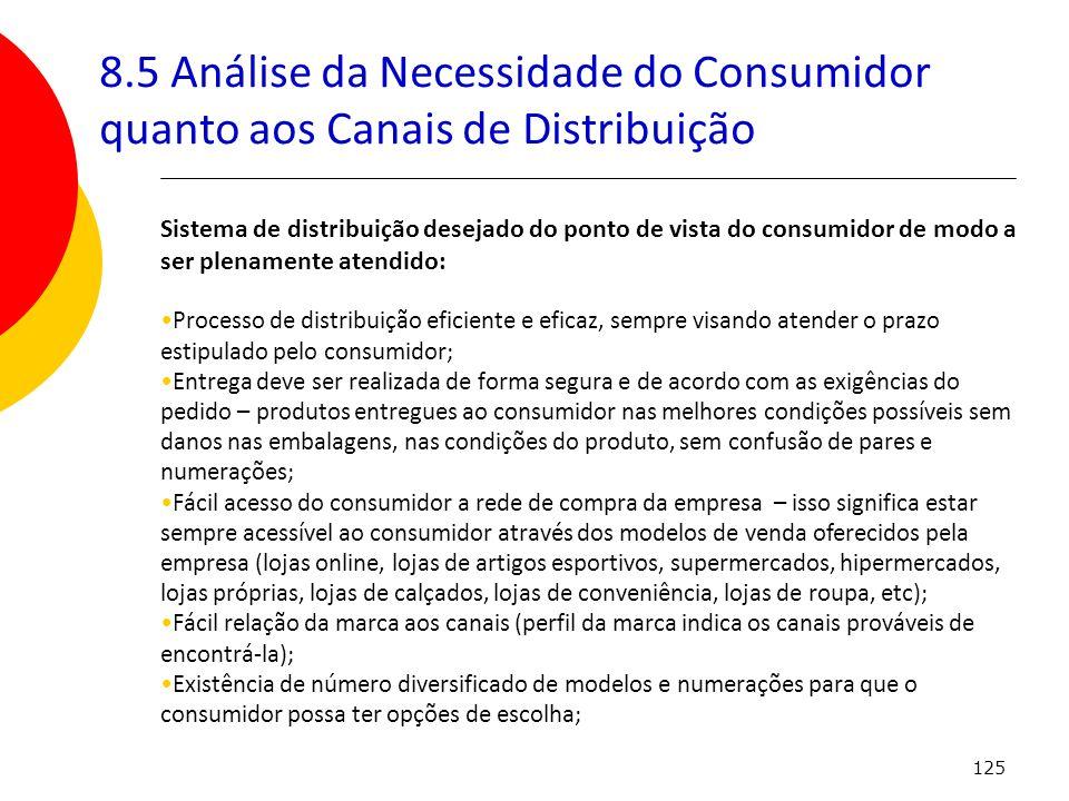 125 8.5 Análise da Necessidade do Consumidor quanto aos Canais de Distribuição Sistema de distribuição desejado do ponto de vista do consumidor de mod