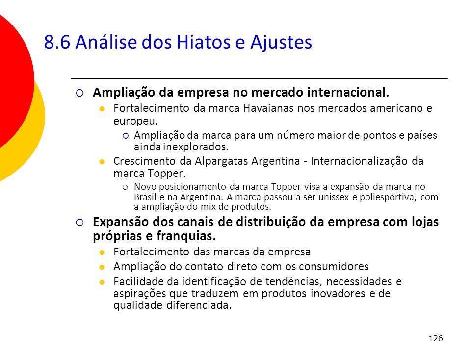 126 8.6 Análise dos Hiatos e Ajustes Ampliação da empresa no mercado internacional. Fortalecimento da marca Havaianas nos mercados americano e europeu