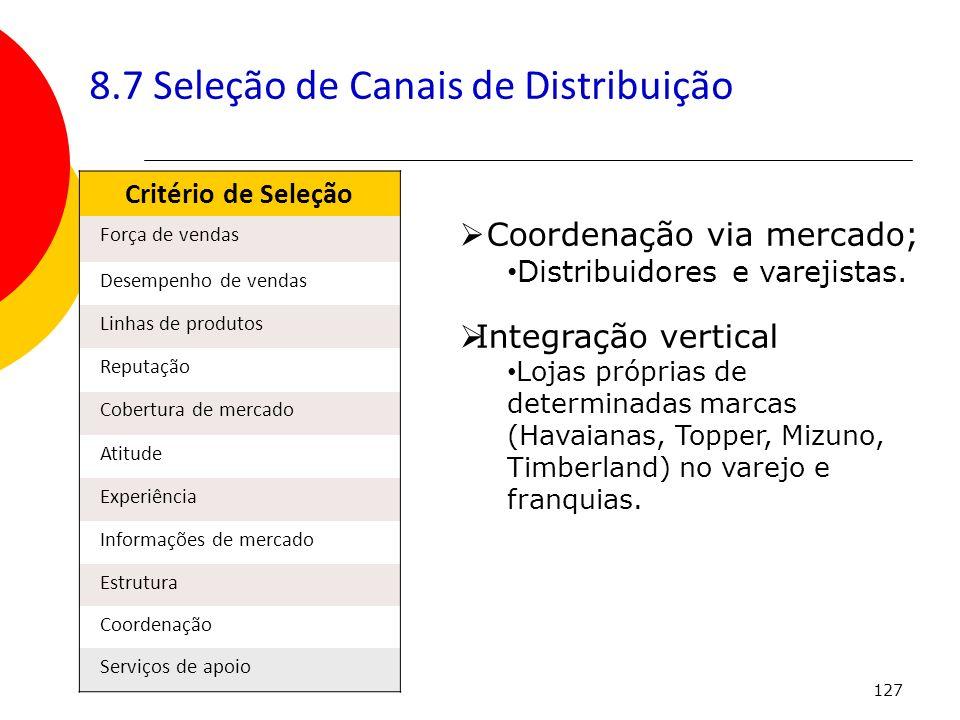 127 8.7 Seleção de Canais de Distribuição Critério de Seleção Força de vendas Desempenho de vendas Linhas de produtos Reputação Cobertura de mercado A