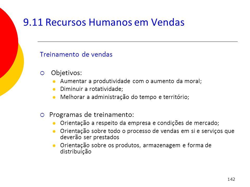 142 9.11 Recursos Humanos em Vendas Treinamento de vendas Objetivos: Aumentar a produtividade com o aumento da moral; Diminuir a rotatividade; Melhora