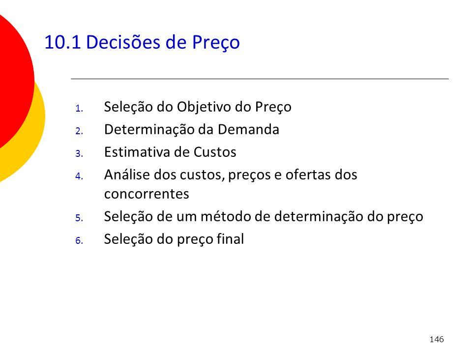 146 10.1 Decisões de Preço 1. Seleção do Objetivo do Preço 2. Determinação da Demanda 3. Estimativa de Custos 4. Análise dos custos, preços e ofertas