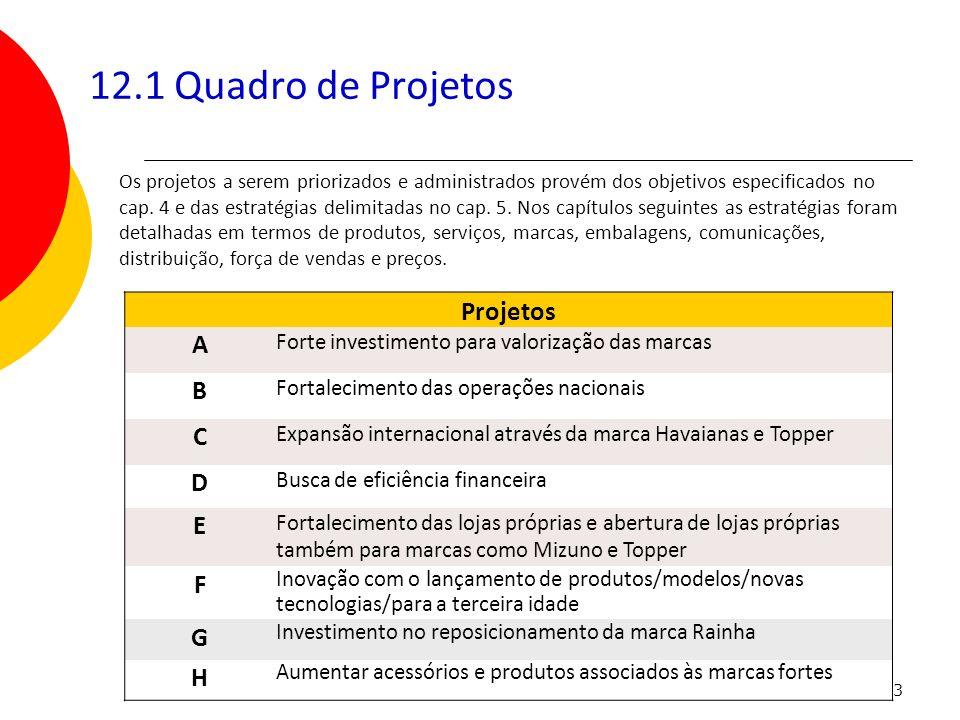 163 12.1 Quadro de Projetos Projetos A Forte investimento para valorização das marcas B Fortalecimento das operações nacionais C Expansão internaciona