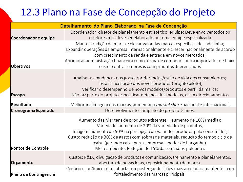 165 12.3 Plano na Fase de Concepção do Projeto Detalhamento do Plano Elaborado na Fase de Concepção Coordenador e equipe Coordenador: diretor de plane