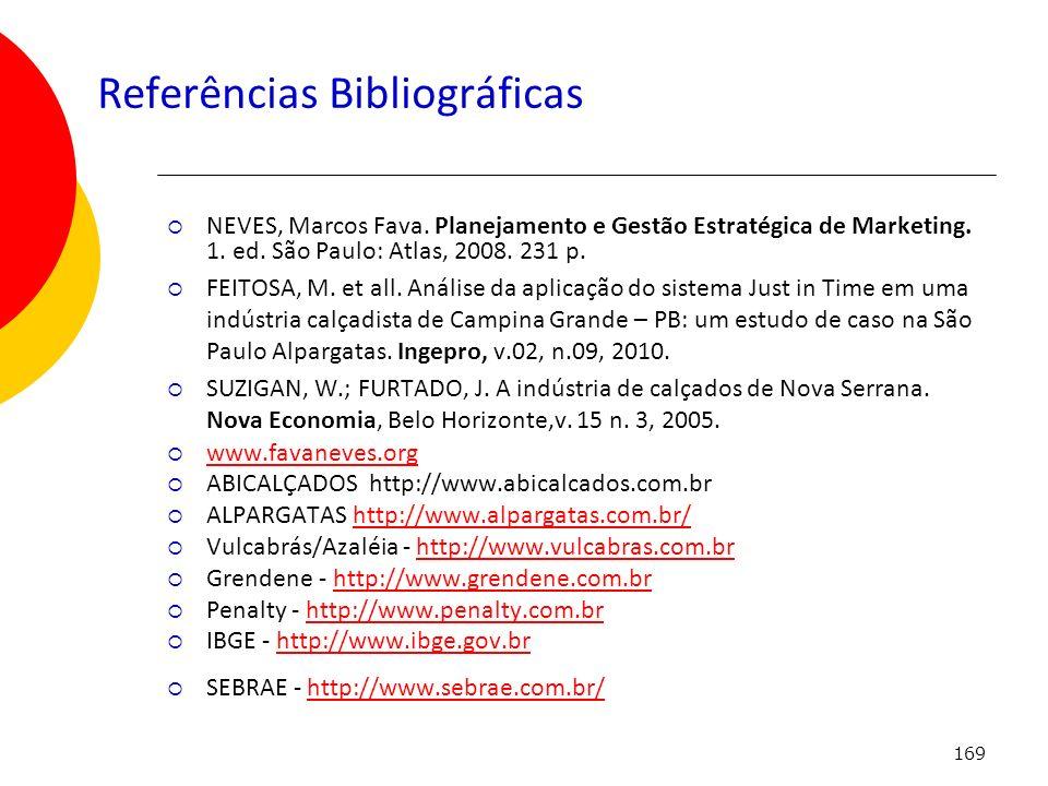 169 Referências Bibliográficas NEVES, Marcos Fava. Planejamento e Gestão Estratégica de Marketing. 1. ed. São Paulo: Atlas, 2008. 231 p. FEITOSA, M. e