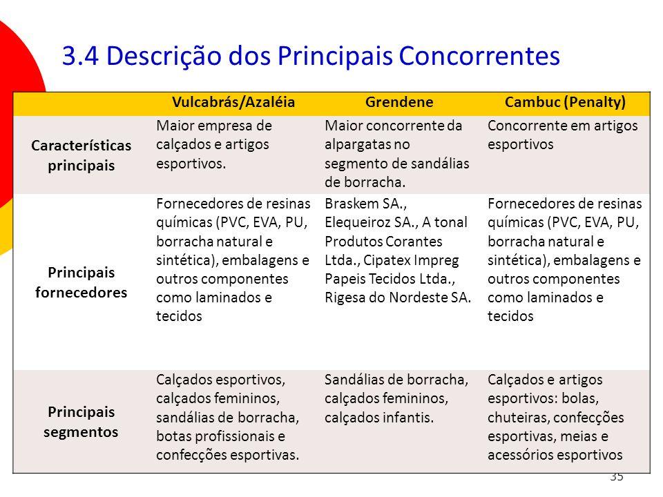 35 Vulcabrás/AzaléiaGrendeneCambuc (Penalty) Características principais Maior empresa de calçados e artigos esportivos. Maior concorrente da alpargata