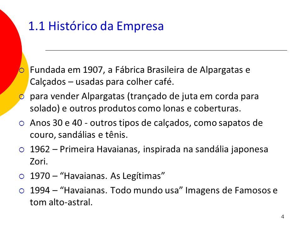 4 1.1 Histórico da Empresa Fundada em 1907, a Fábrica Brasileira de Alpargatas e Calçados – usadas para colher café. para vender Alpargatas (trançado