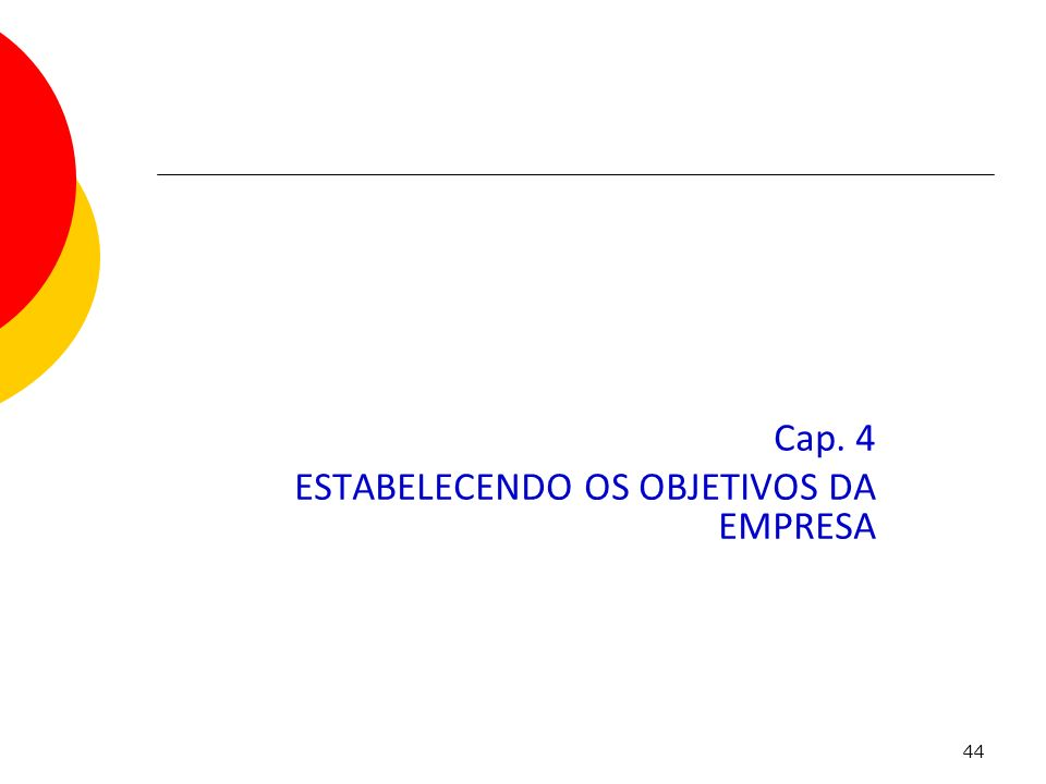 44 Cap. 4 ESTABELECENDO OS OBJETIVOS DA EMPRESA Capítulo 4