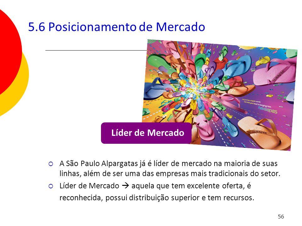 56 5.6 Posicionamento de Mercado A São Paulo Alpargatas já é líder de mercado na maioria de suas linhas, além de ser uma das empresas mais tradicionai