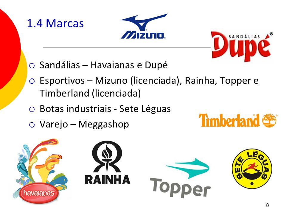 8 1.4 Marcas Sandálias – Havaianas e Dupé Esportivos – Mizuno (licenciada), Rainha, Topper e Timberland (licenciada) Botas industriais - Sete Léguas V