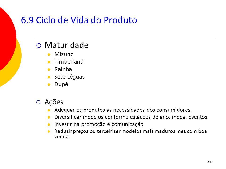 80 Maturidade Mizuno Timberland Rainha Sete Léguas Dupé Ações Adequar os produtos às necessidades dos consumidores. Diversificar modelos conforme esta