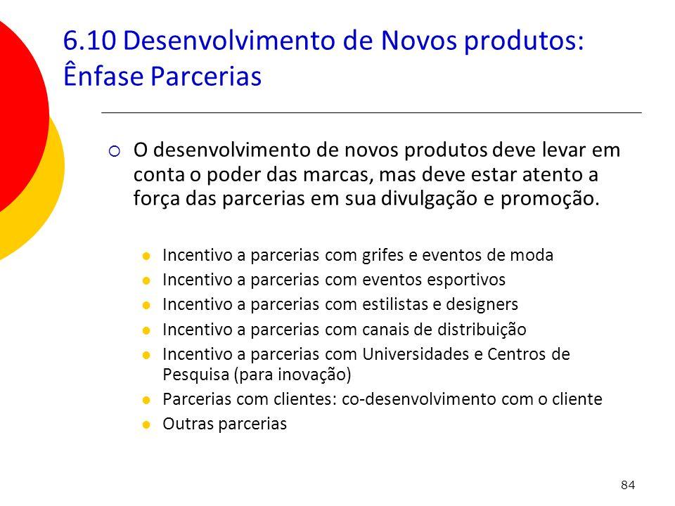 84 6.10 Desenvolvimento de Novos produtos: Ênfase Parcerias O desenvolvimento de novos produtos deve levar em conta o poder das marcas, mas deve estar