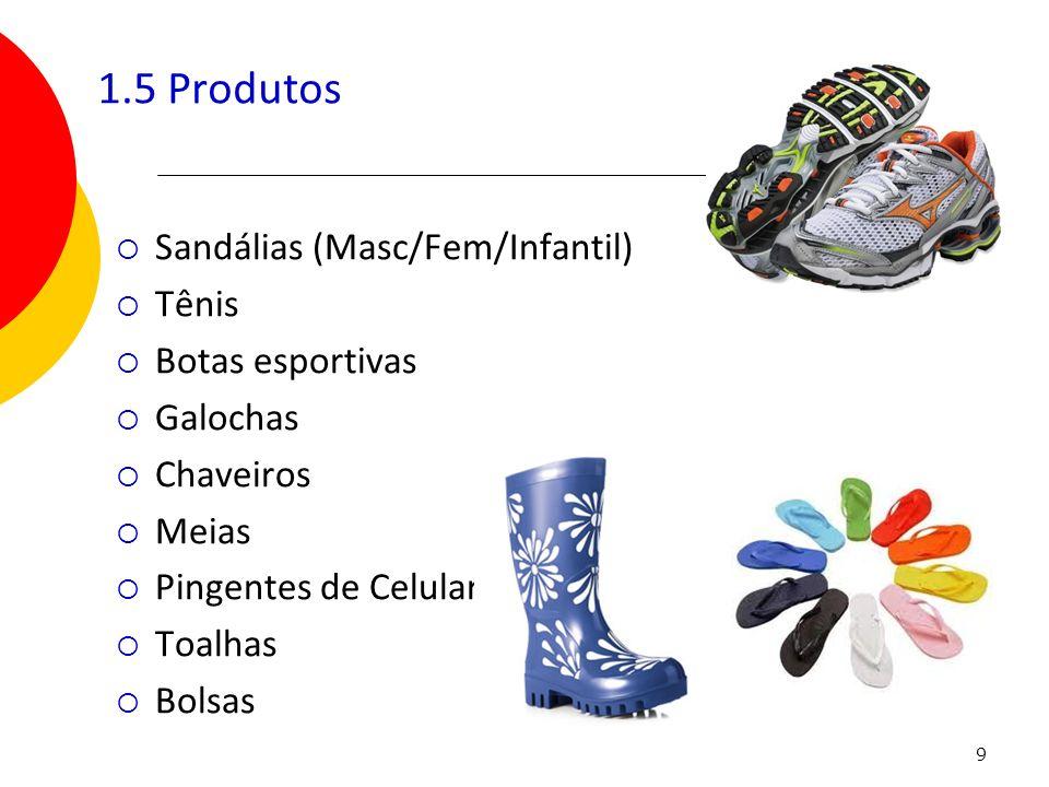 9 1.5 Produtos Sandálias (Masc/Fem/Infantil) Tênis Botas esportivas Galochas Chaveiros Meias Pingentes de Celular Toalhas Bolsas