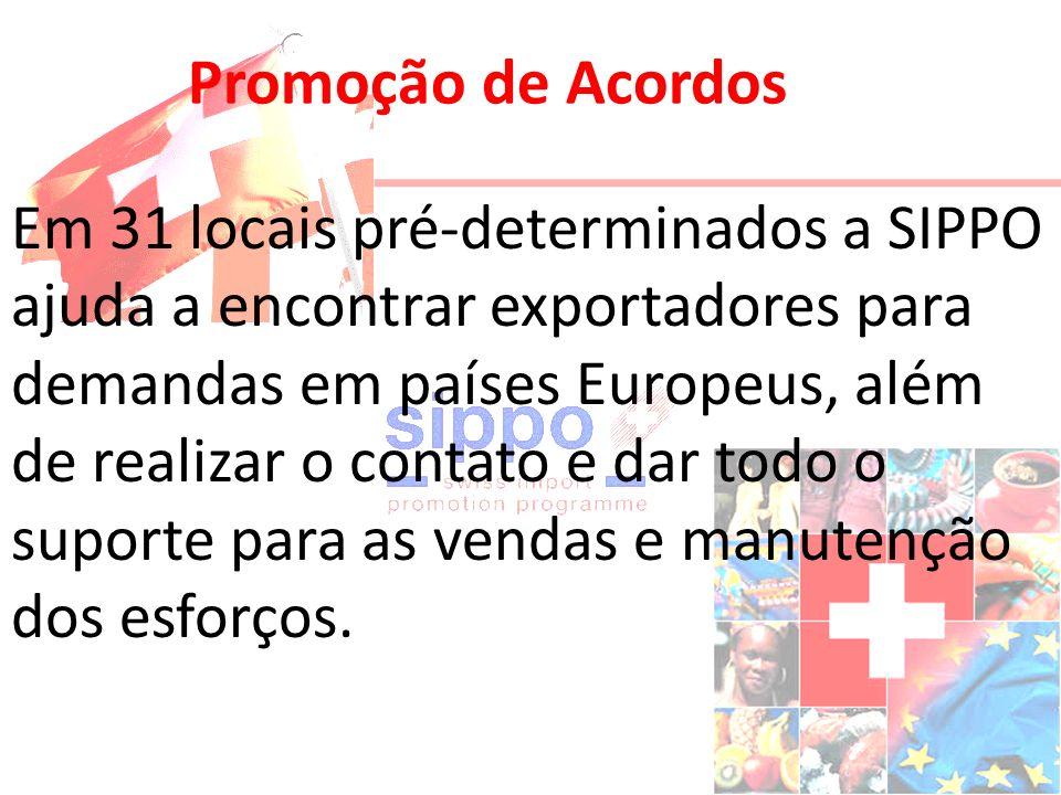Promoção de Acordos Em 31 locais pré-determinados a SIPPO ajuda a encontrar exportadores para demandas em países Europeus, além de realizar o contato e dar todo o suporte para as vendas e manutenção dos esforços.