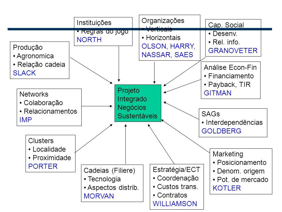 2 Projeto Integrado Negócios Sustentáveis Networks Colaboração Relacionamentos IMP Clusters Localidade Proximidade PORTER Instituições Regras do jogo