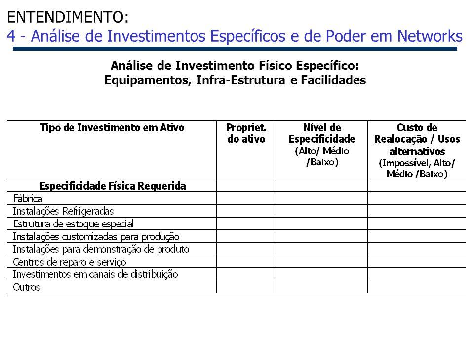 30 Análise de Investimento Físico Específico: Equipamentos, Infra-Estrutura e Facilidades ENTENDIMENTO: 4 - Análise de Investimentos Específicos e de