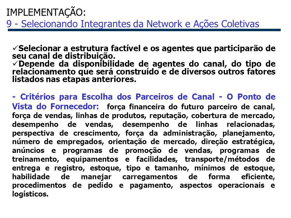 47 IMPLEMENTAÇÃO: 9 - Selecionando Integrantes da Network e Ações Coletivas Selecionar a estrutura factível e os agentes que participarão de seu canal
