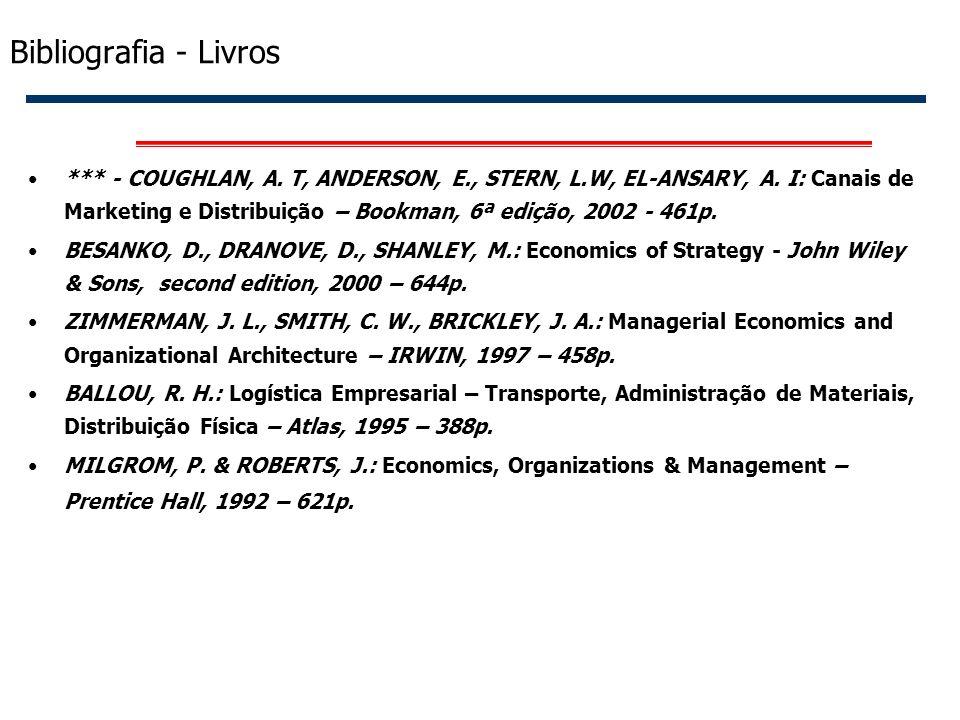 54 Bibliografia - Livros *** - COUGHLAN, A. T, ANDERSON, E., STERN, L.W, EL-ANSARY, A. I: Canais de Marketing e Distribuição – Bookman, 6ª edição, 200