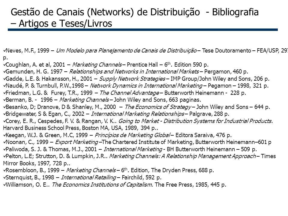 55 Gestão de Canais (Networks) de Distribuição - Bibliografia – Artigos e Teses/Livros Neves, M.F., 1999 – Um Modelo para Planejamento de Canais de Di