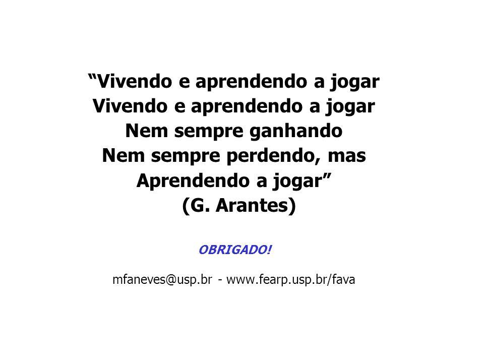 Vivendo e aprendendo a jogar Nem sempre ganhando Nem sempre perdendo, mas Aprendendo a jogar (G. Arantes) OBRIGADO! mfaneves@usp.br - www.fearp.usp.br