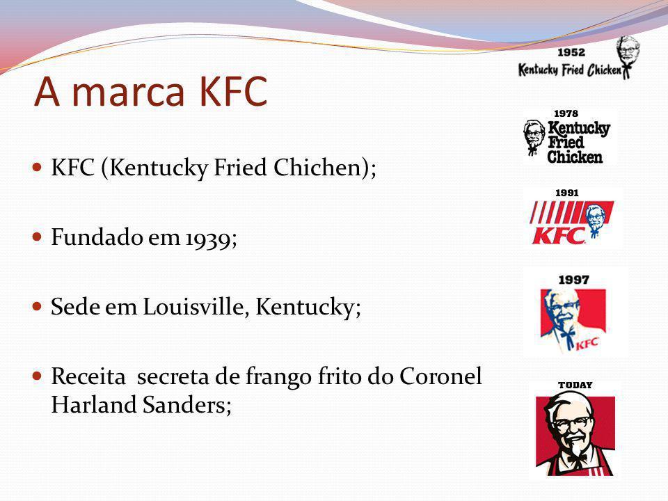A marca KFC KFC (Kentucky Fried Chichen); Fundado em 1939; Sede em Louisville, Kentucky; Receita secreta de frango frito do Coronel Harland Sanders;