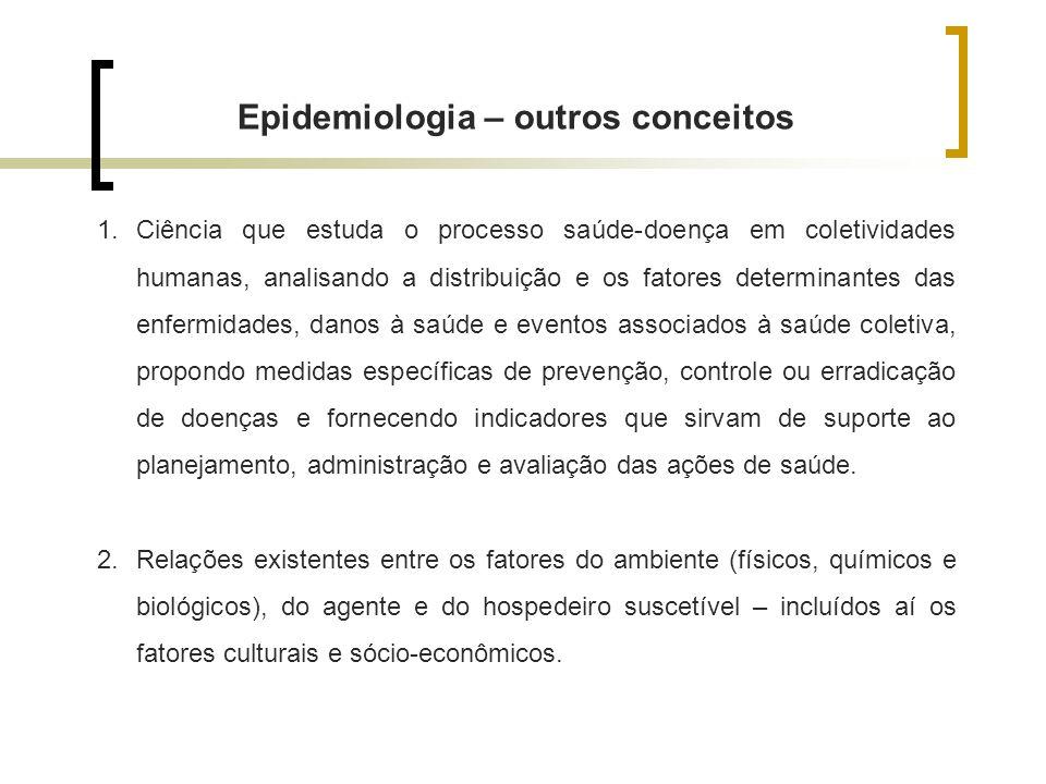 Epidemiologia – outros conceitos 1.Ciência que estuda o processo saúde-doença em coletividades humanas, analisando a distribuição e os fatores determi