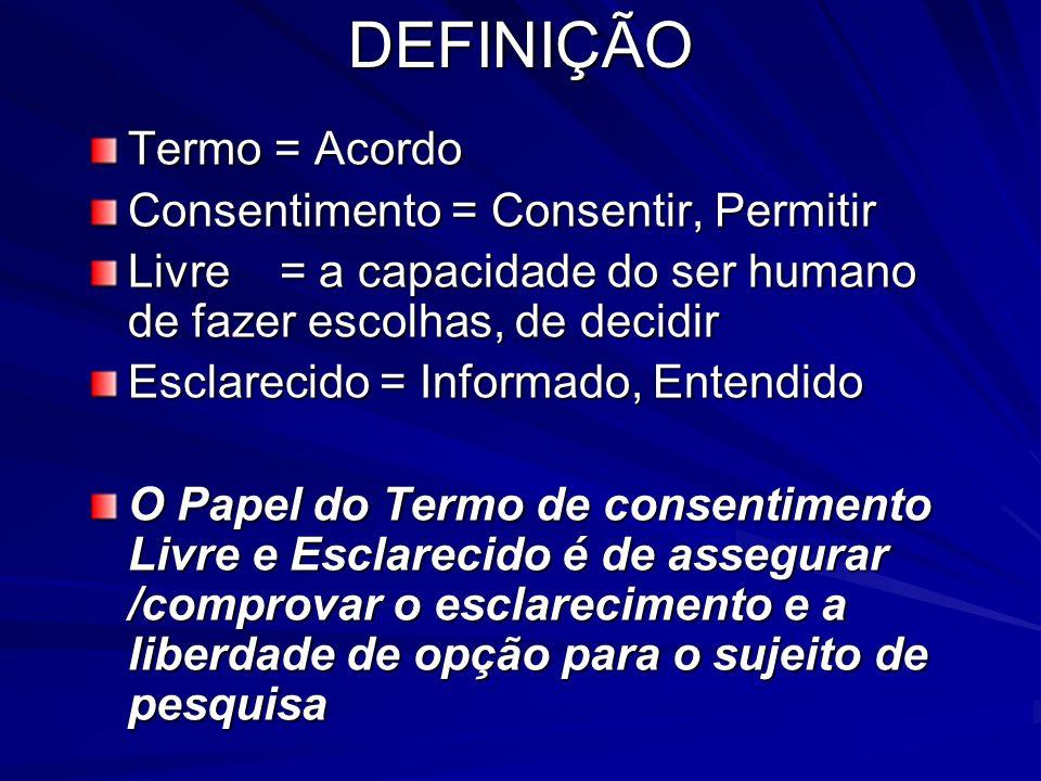 DEFINIÇÃO Termo = Acordo Consentimento = Consentir, Permitir Livre = a capacidade do ser humano de fazer escolhas, de decidir Esclarecido = Informado,