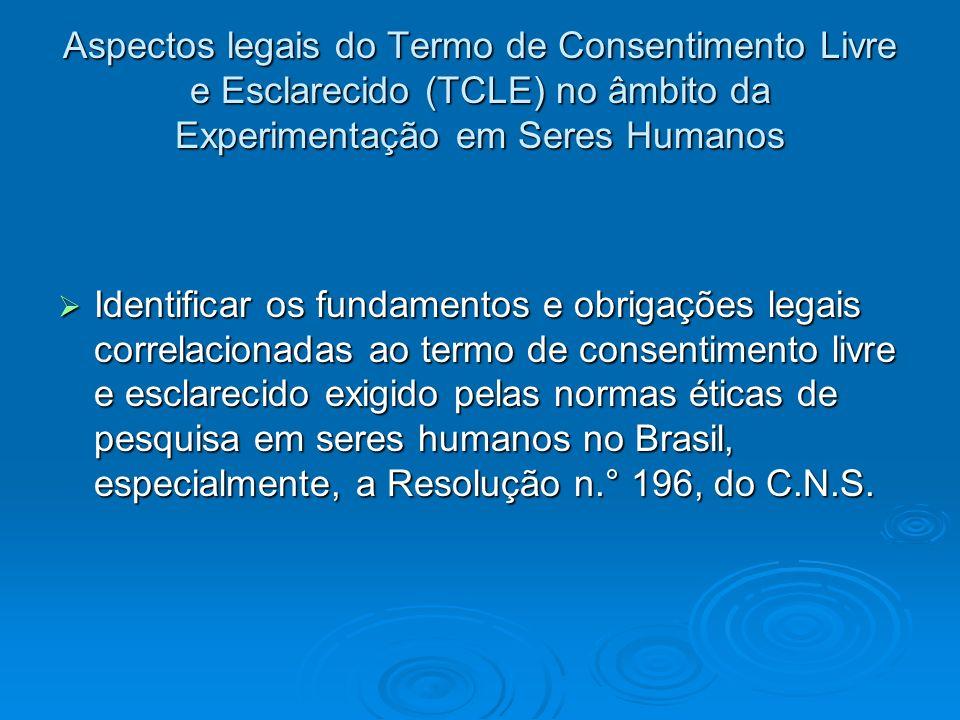 Aspectos legais do Termo de Consentimento Livre e Esclarecido (TCLE) no âmbito da Experimentação em Seres Humanos Identificar os fundamentos e obrigaç