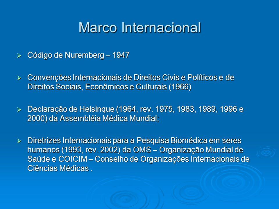 Marco Internacional Código de Nuremberg – 1947 Código de Nuremberg – 1947 Convenções Internacionais de Direitos Civis e Políticos e de Direitos Sociai