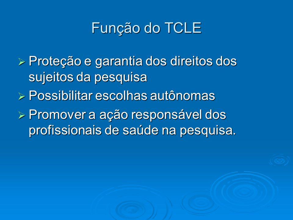 Função do TCLE Proteção e garantia dos direitos dos sujeitos da pesquisa Proteção e garantia dos direitos dos sujeitos da pesquisa Possibilitar escolh