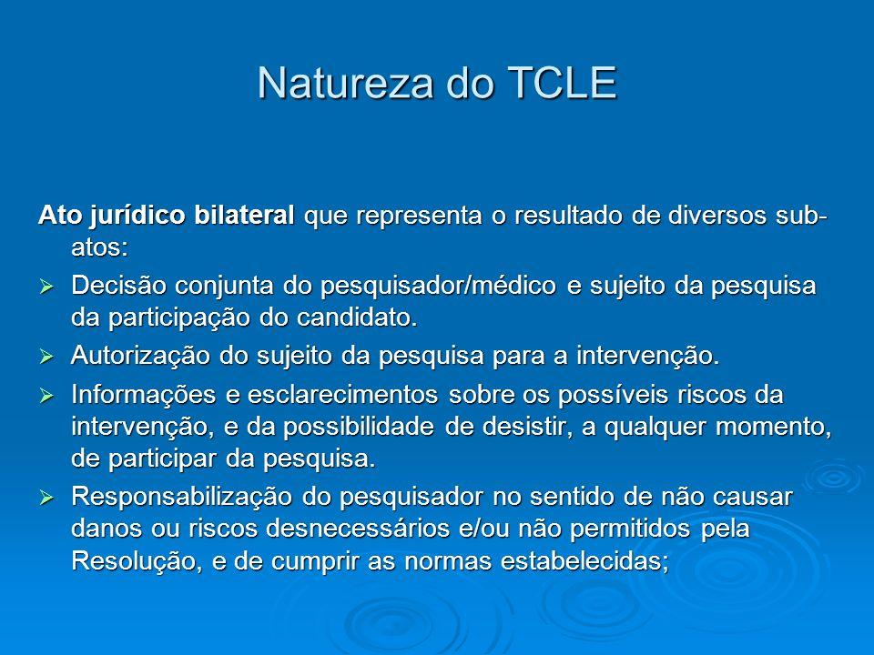 Natureza do TCLE Ato jurídico bilateral que representa o resultado de diversos sub- atos: Decisão conjunta do pesquisador/médico e sujeito da pesquisa