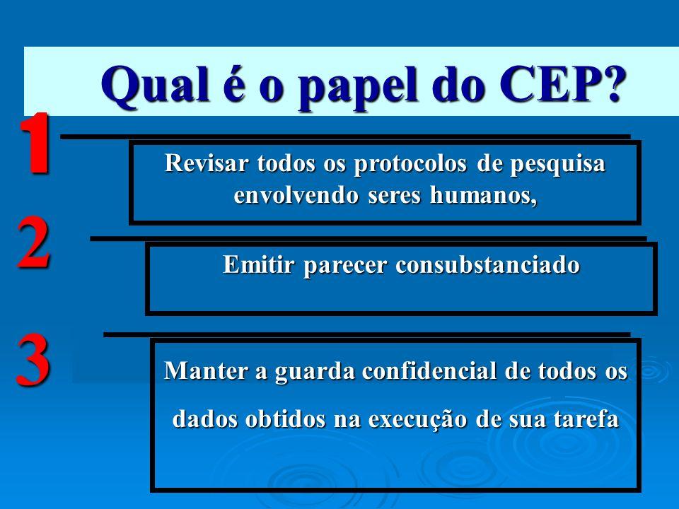 Qual é o papel do CEP? Revisar todos os protocolos de pesquisa envolvendo seres humanos, 1 Emitir parecer consubstanciado 2 Manter a guarda confidenci