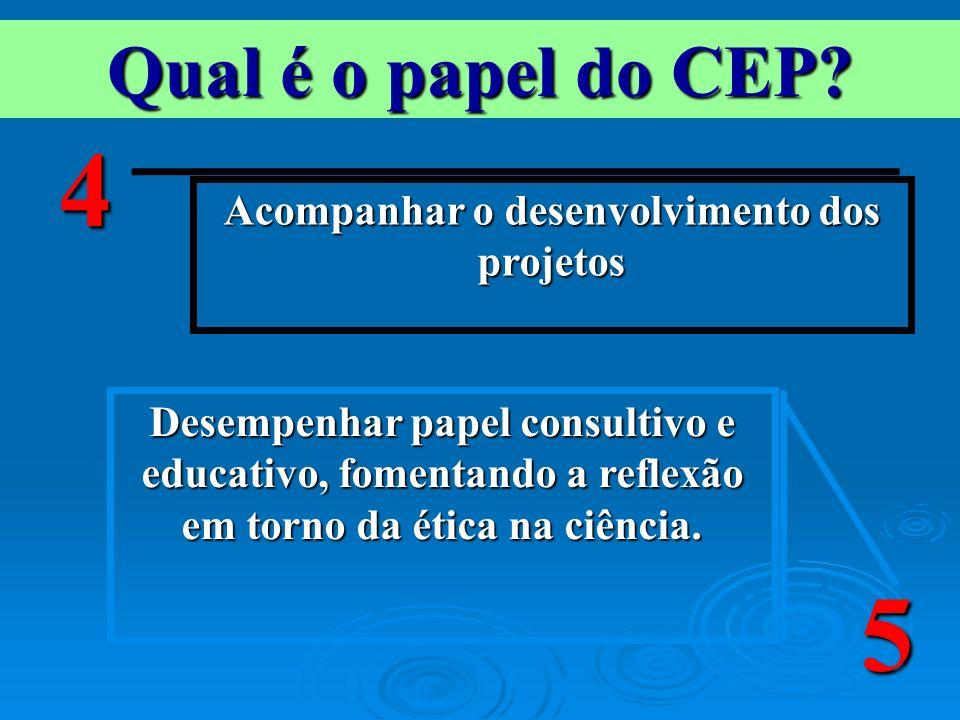 Qual é o papel do CEP? Acompanhar o desenvolvimento dos projetos 4 Desempenhar papel consultivo e educativo, fomentando a reflexão em torno da ética n