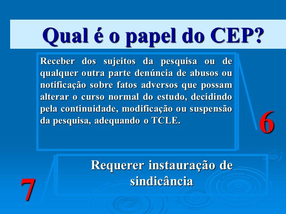 Qual é o papel do CEP? Receber dos sujeitos da pesquisa ou de qualquer outra parte denúncia de abusos ou notificação sobre fatos adversos que possam a