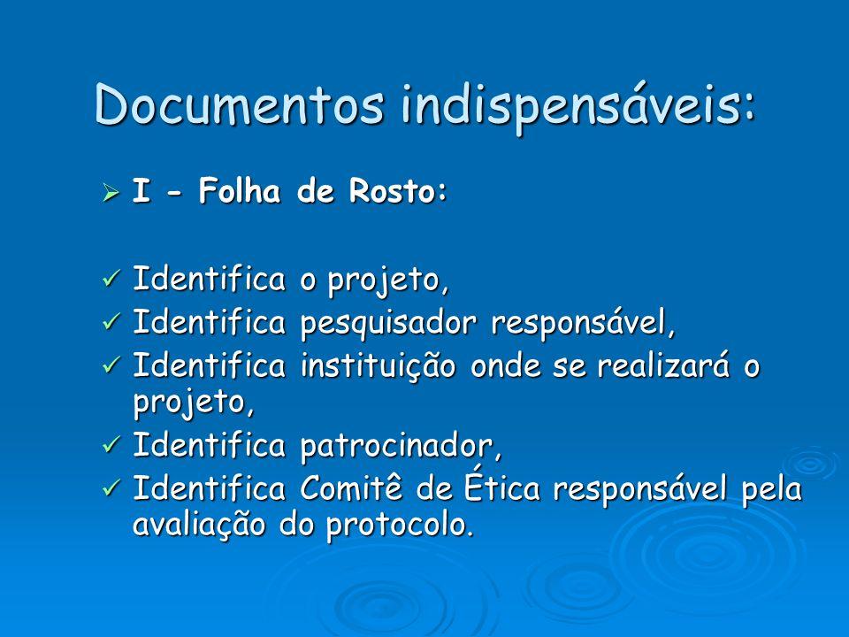 Documentos indispensáveis: I - Folha de Rosto: I - Folha de Rosto: Identifica o projeto, Identifica o projeto, Identifica pesquisador responsável, Ide