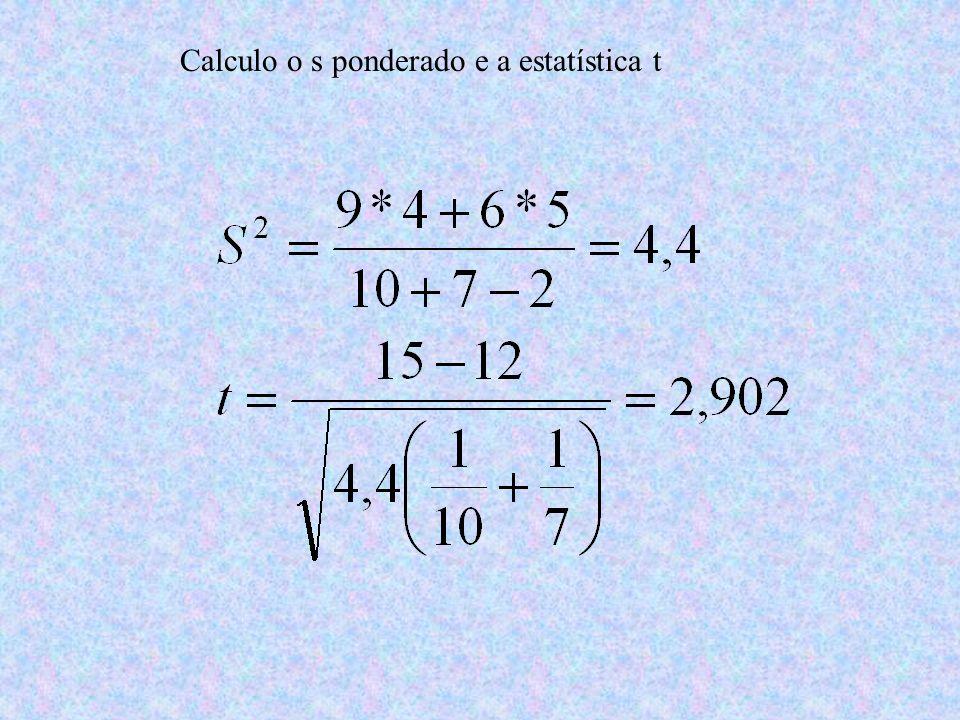 Calculo o s ponderado e a estatística t