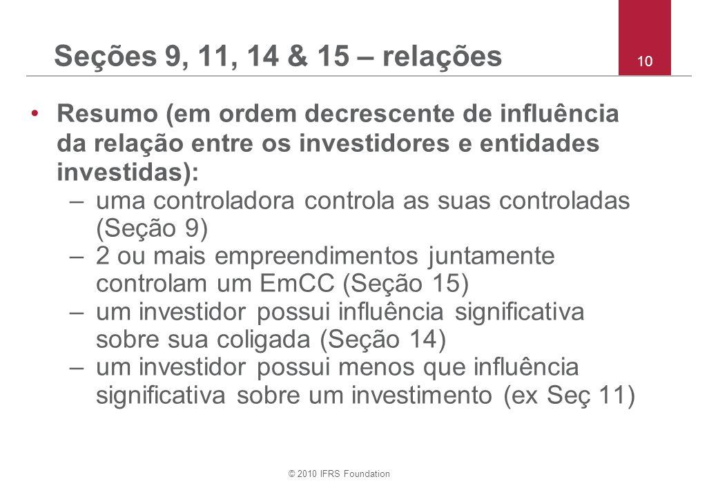 © 2010 IFRS Foundation 10 Seções 9, 11, 14 & 15 – relações Resumo (em ordem decrescente de influência da relação entre os investidores e entidades investidas): –uma controladora controla as suas controladas (Seção 9) –2 ou mais empreendimentos juntamente controlam um EmCC (Seção 15) –um investidor possui influência significativa sobre sua coligada (Seção 14) –um investidor possui menos que influência significativa sobre um investimento (ex Seç 11)