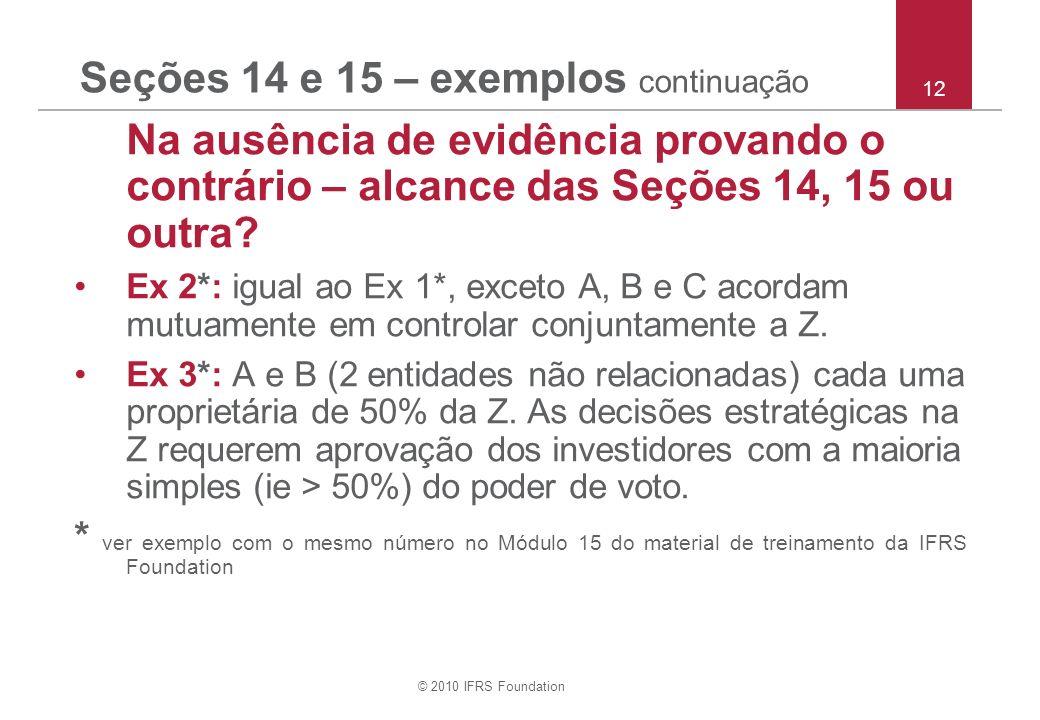 © 2010 IFRS Foundation Seções 14 e 15 – exemplos continuação Na ausência de evidência provando o contrário – alcance das Seções 14, 15 ou outra? Ex 2*
