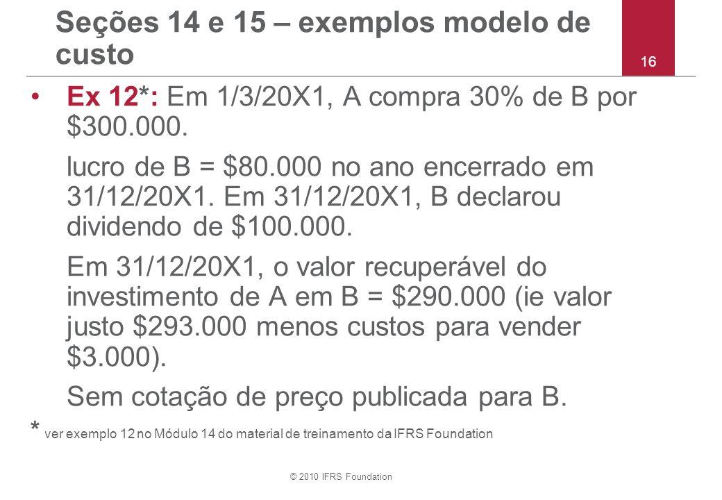 © 2010 IFRS Foundation Seções 14 e 15 – exemplos modelo de custo Ex 12*: Em 1/3/20X1, A compra 30% de B por $300.000. lucro de B = $80.000 no ano ence