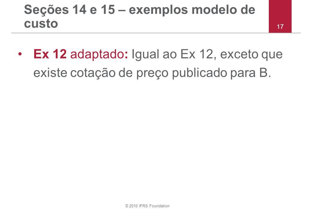 © 2010 IFRS Foundation Seções 14 e 15 – exemplos modelo de custo Ex 12 adaptado: Igual ao Ex 12, exceto que existe cotação de preço publicado para B.