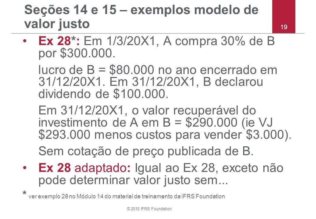 © 2010 IFRS Foundation Seções 14 e 15 – exemplos modelo de valor justo Ex 28*: Em 1/3/20X1, A compra 30% de B por $300.000. lucro de B = $80.000 no an