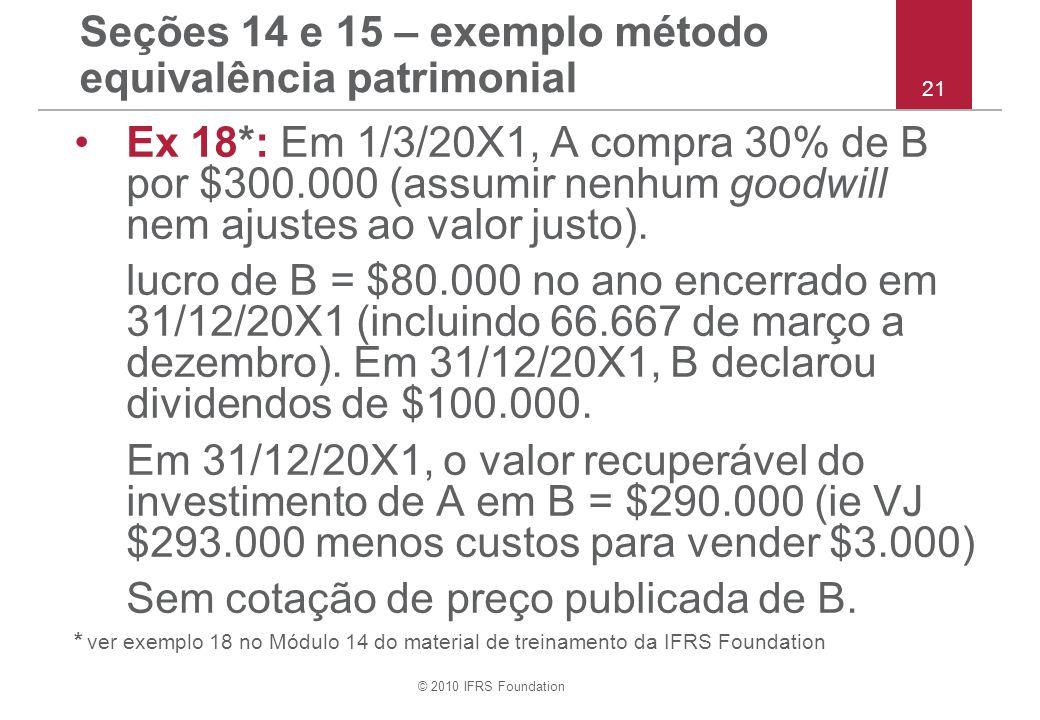 © 2010 IFRS Foundation Seções 14 e 15 – exemplo método equivalência patrimonial Ex 18*: Em 1/3/20X1, A compra 30% de B por $300.000 (assumir nenhum goodwill nem ajustes ao valor justo).