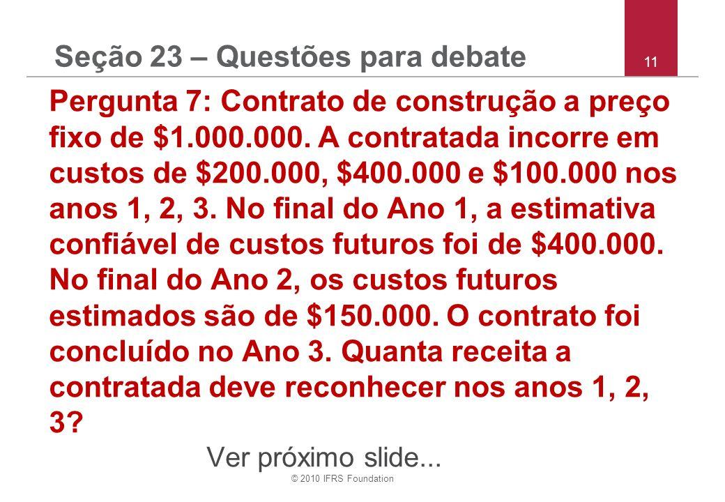 © 2010 IFRS Foundation 11 Pergunta 7: Contrato de construção a preço fixo de $1.000.000.